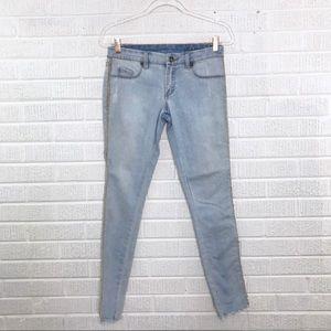 Blank NYC Leather Trim Raw Hem Skinny Jeans 27
